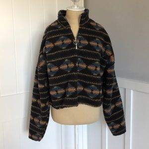 patterned half-zip sweatshirt